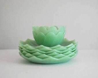 Jadeite Lotus Plates, Fire King Jadeite, Blossom Bowls, 1950s Green Glass, Anchor Hocking Salad or Dessert Plate, Mid Century Jadite Set
