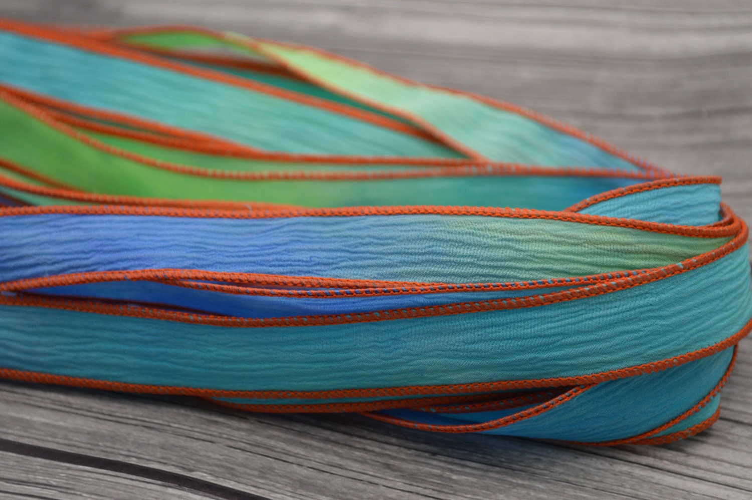 Koi pond crinkle silk ribbons qty 5 hand dyed for Blue ribbon koi