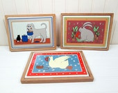 Vintage Taylor & Ng Framed Ceramic Tile Trivet Set Classy Critters Dog Rabbit Goose