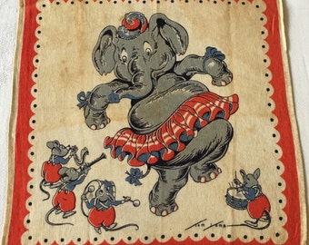 Vintage Child Handkerchief  designed by Tom Lamb  Dancing Elephant with Mice on Instruments