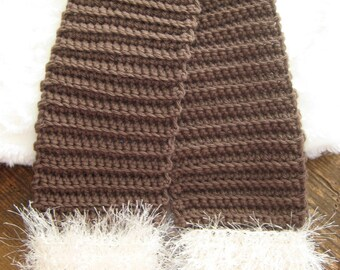 brown with winter white trim crochet scarf