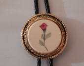 Black Leather Bolo with Rose Slider