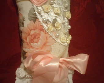 Hand M Satin roses Romantic  Lavender SACHET, PILLOW, PINCUSHION, Lace ruffle,faux pearls bow