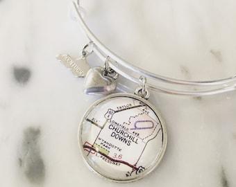 Churchill Downs Map Charm Bangle Bracelet - Map Jewelry - Kentucky Derby - Wanderlust - Travel - Horse Racing