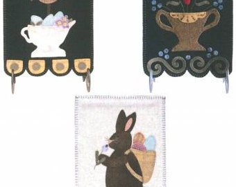 Primitive Folk Art Wool Applique Pattern - Spring Banners
