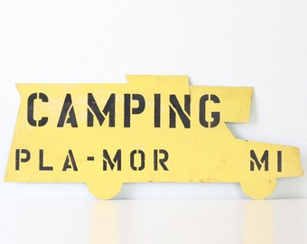 Vintage Camping Sign, Yellow Camper, Pla-Mor, MI