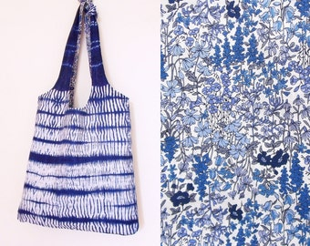 Reversible tote bag - blue and white flowers or shibori