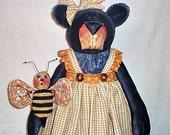 E-Pattern, Downloadable Pattern, Bear Bag Holder Pattern, Cloth Doll Pattern, Primitive Pattern, Mz. Buzzy Bear & Bee, Cabin Bear Pattern