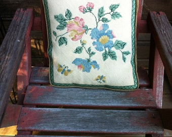 "vintage  handmade needlepoint  pillow vintage 15"" by 14"" inch butterflies  beautiful colors"