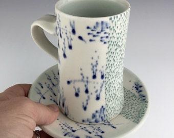 Blue and White Ceramic Mug and Saucer, Coffee Mug, Pottery Mug,  Mug, Gift For Her Mugs, Ceramic Wedding Gift, Unique Housewarming Gift