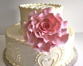 Rose Cake Topper Wedding Cake Topper Flower Cake Design Blush Rose Cake Decor Flower Clay Flower- Made-to -Order
