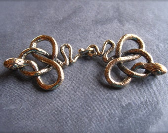 SLINKY Snake Charmer hook and eye clasp in bronze - 50mm X 18mm