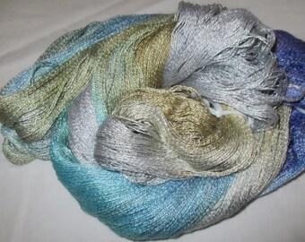 Hand dyed Tencel Yarn - 900 yds. Lace Wt. Tencel Yarn  BOAT HOUSE