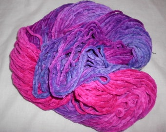 Handpainted Yarn -  Bulky Cotton Chenille Yarn - PETALS - 150 yds.