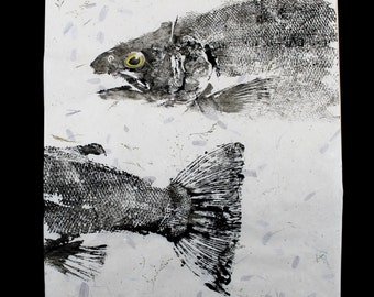 Steelhead Trout  Original GYOTAKU Japanese Fish Art Rubbing on hand made paper by Barry Singer Great fisherman Gift