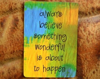 Inspirational Magnet, Cheerful Fridge Art, Enlightenment Positivity Faith, Locker Cubicle Art, Positive Energy, Yellow Blue Green, Bright,