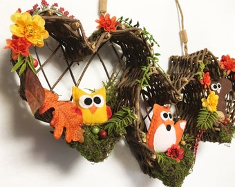 Autumn Wreath, Fall Door hanger, Good Neighbors, Vintage Woodland, Hostess Gift, Housewarming, One of a Kind