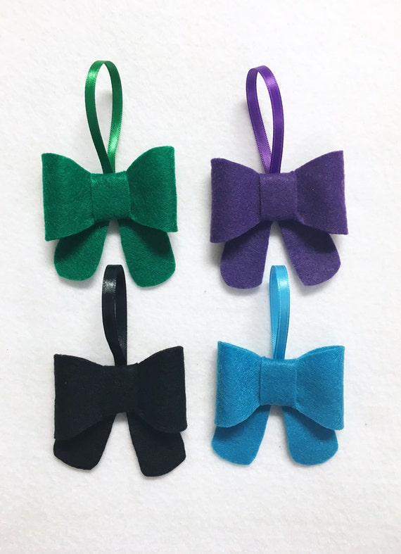 Bow Ornament, Ornament Set - Peacock - Christmas Ornament, Purple Teal Black Green Bows