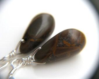 Earthy Jewelry . Camling Jewelry . Brown Jasper Earrings . Brown Drop Earrings . Simple Stone Earrings Silver - Tranquility Collection