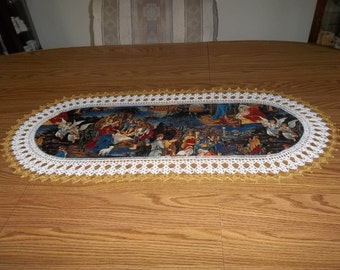 Crochet Table Runner, Christmas, Table Runner, Nativity Scene 16 x 36, Best Doilies, Handmade, Crochet Edge, Centerpiece, Table Topper, Gift