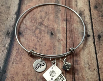 Casino charm bracelet - card game jewelry, casino jewelry, Las Vegas jewelry, dice bangle, playing cards jewelry, silver dice initial bangle