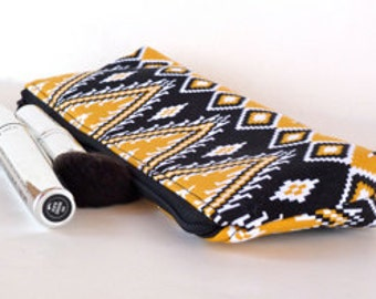 Aztec Slim Makeup Bag Brush Bag Pencil Pouch Small Zippered Padded Pouch Eco Friendly Black and Yellow
