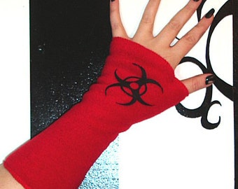 Biohazard Symbol Red Fleece Arm Warmers MTCoffinz --CLOSEOUT SALE - Ready to Ship