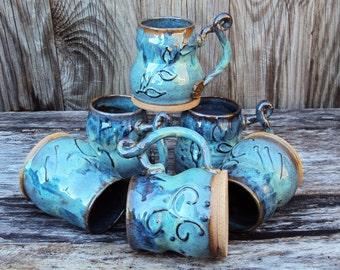 Stoneware coffee or tea mug, beverage cup, handmade pottery, OOAK elegant handle design, morning brew, java, microwave safe, breakfast brew