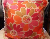 Vintage Mod PILLOW COVER Case 60's London Orange Hot Pink FLOWERS Daisies Chenille Fringes & Zipper