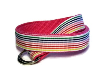 Ribbon Belt for Boys Toddlers Girls Rainbow Striped D-ring Webbing Belt / Preppy Canvas Belt - Purple Red Yellow Green Blue Pink