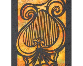 Lyre Papercut ACEO, Handcut Original, Watercolor background