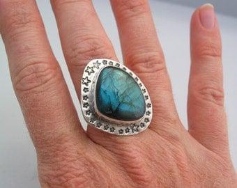 Stars Ring, Labradorite Silver Ring, Artisan Jewelry, Boho Ring, Sterling Silver Ring Size 9.5