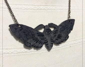Death's Head Moth, Hawk Moth Pendant Black Gloss Variant