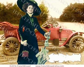 Victorian Lady with Antique Jalopy Convertible Road Trip No. 3 Digital Printable