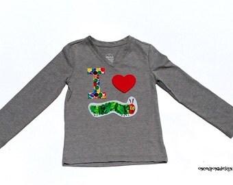 I Heart Caterpillar....Fabric Iron On Appliques