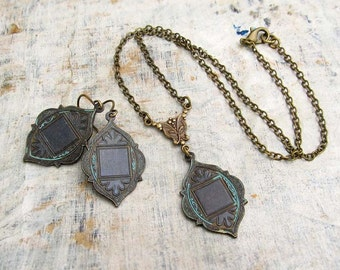 black necklace set Ethnic moroccan necklace Gift for her Boho bohemian Jewelry