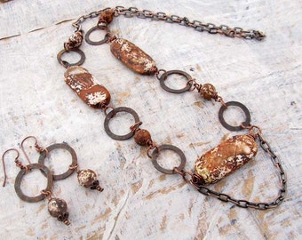 brown necklace - Stone necklace - copper chain necklace set - bohemian jewelry