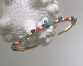 RESERVED, Vintage Coral Cuff, Kyanite Gold Filled Bracelet, Turquoise Apatite, Wire Wrapped, Artist Made, Original Design, Signature