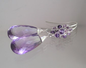 Amethyst Sterling Earrings, Purple Quartz Dangles, Violet Sapphire Drops, Wire Wrapped, Elongated Ear Hooks, Original Design, Signature