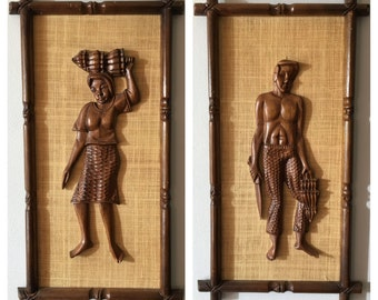 Carved Wood Mid Century Wall Art of Man and Woman Banana Harvest Pair