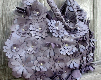 Leather Flower Bag in Dusky Lilac Leather by Stacy Leigh