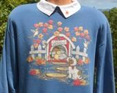 vintage 80s sweatshirt CATS kitten DOGS puppy raglan crewneck sweater w built in polo collar Medium Large wtf