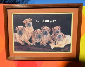 vintage 70s art wall hanging SHAR PEI dogs puppies 5 o'clock yet office wooden frame glass cute wtf 80s