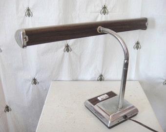Vintage Gooseneck Desk Lamp, Silver, Beige, and Faux Wood, Mid Century Modern, Adjustable, Underwriters Laboratories