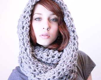 NEW The Favorite Cowl neck hood scarf wool chunky stone grey
