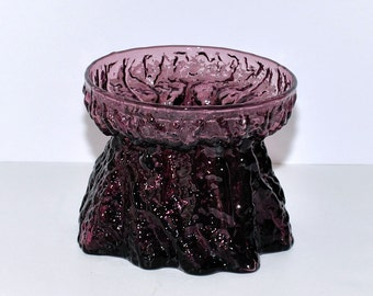 Vintage Purple Bark Textured Glass Vase, circa 1950s – 1960s