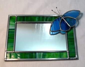 Butterfly Green Blue Mirror with Frame in Stained Glass 6.75 x 4.75, horizontal or vertical
