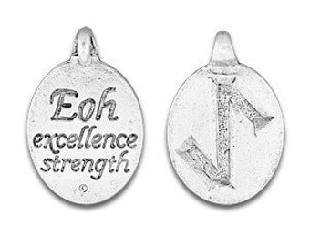 Set of two Rune Pendants, Eoh Rune Symbol,Norse Symbol, Celtic Symbol, Eoh Rune, Eihwaz Rune, Excellence, Strength, Pewter, Made in USA