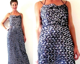 FALL SALE / 20% off Vintage 70s 80s Gunmetal Black Sequined Cowl Neck Gown (size small, medium)