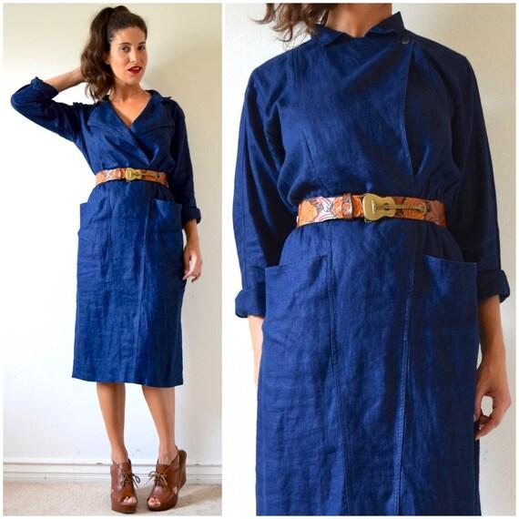 Vintage 80s 90s Indigo Linen Hourglass Wiggle Dress (size medium, large)